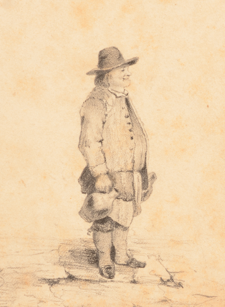 Unknown portrait of a man — Bonhomme portant deux cruches, dessin 19me