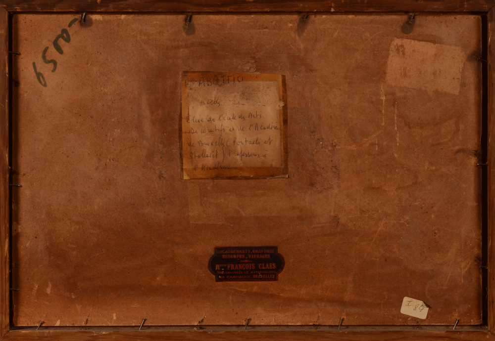 Pierre Abattucci — Back of the painting, with old labels