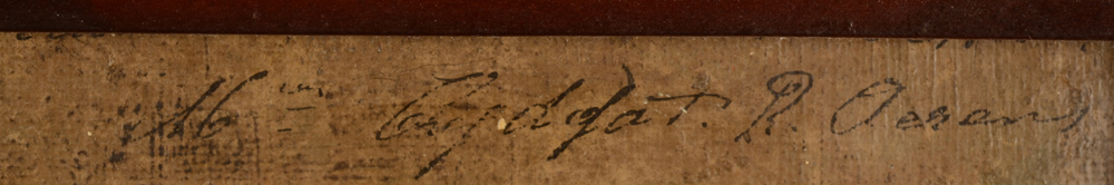 Robert Aerens — Signature of the artist and text, partially obscured by the frame