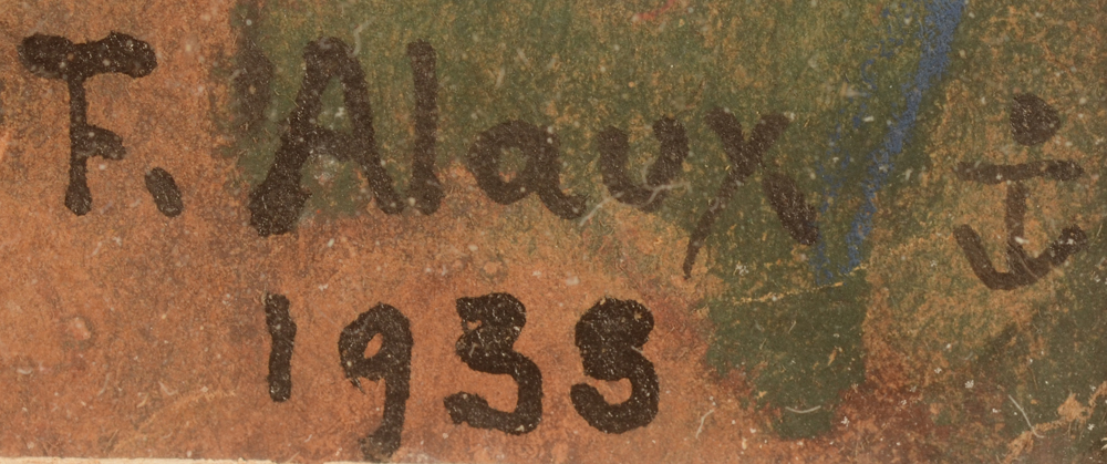 Francois Alaux — Signature of the artist, date and anchor symbol
