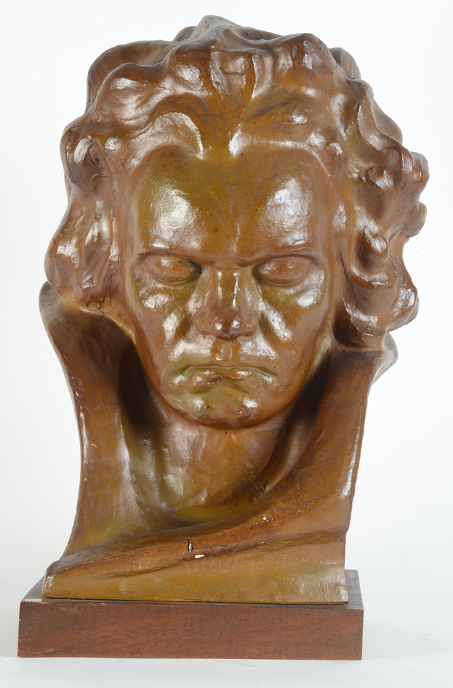 Jan Anteunis — An art deco portrait bust of Beethoven, in patinated plaster.