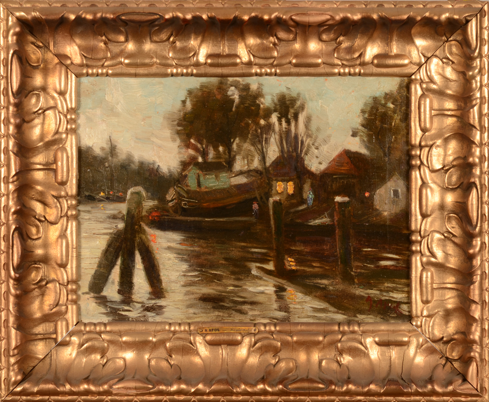 Armand Apol — The painting in its turn of the century frame with old restaurations