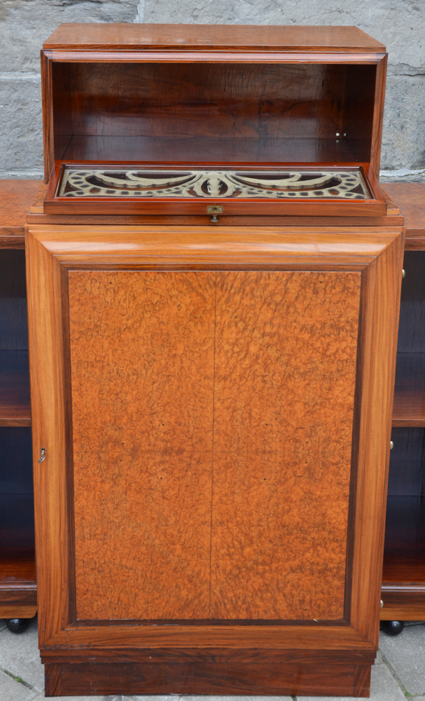 Art Deco desk — Central panel open. The inside of the bottom cabinet is empty as it originally held a safe.