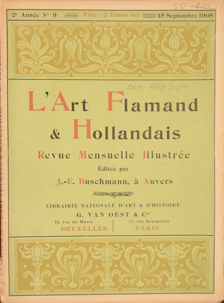 Art Flamand et Hollandais 1905 — Loose issue september 1905, in French with the Van Gogh article