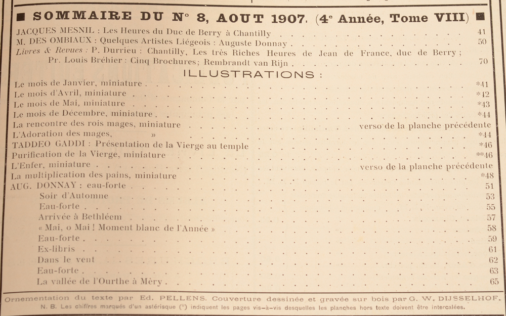 Art Flamand et Hollandais 1907 — Table of contents August