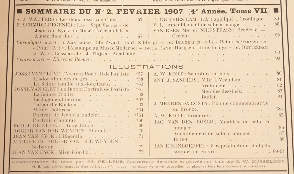 Art Flamand et Hollandais 1907 — Table of content Février