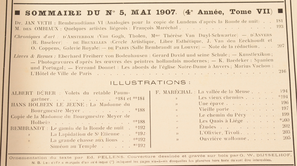 Art Flamand et Hollandais 1907 — Table of contents May