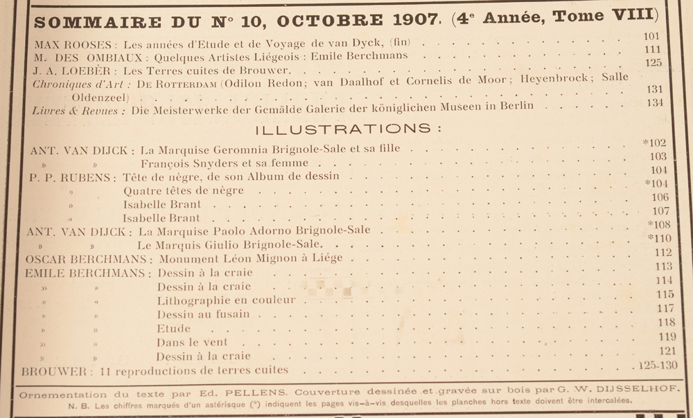 Art Flamand et Hollandais 1907 — Table of contents October