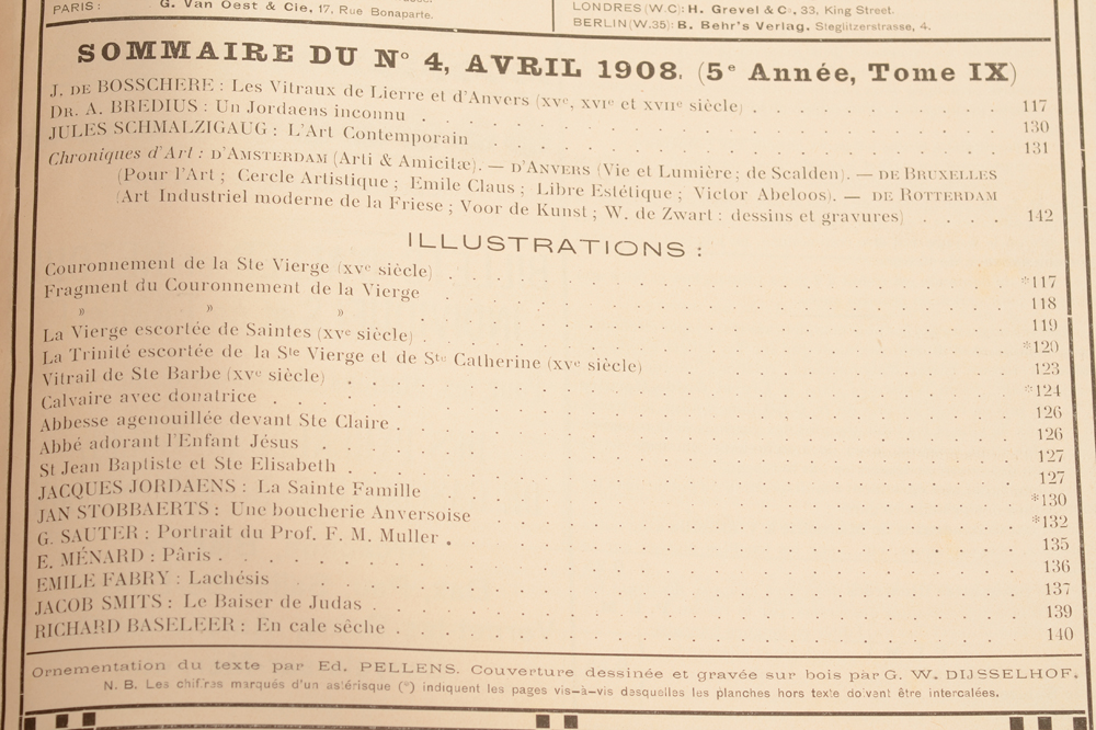 Art Flamand et Hollandais 1908 — Table of contents