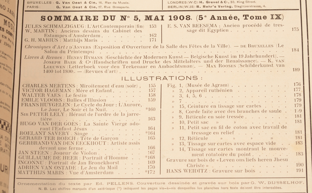 Art Flamand et Hollandais 1908 — Table of contents May