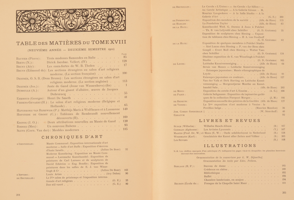 Art Flamand et Hollandais 1912 — Table of contents 2nd half year