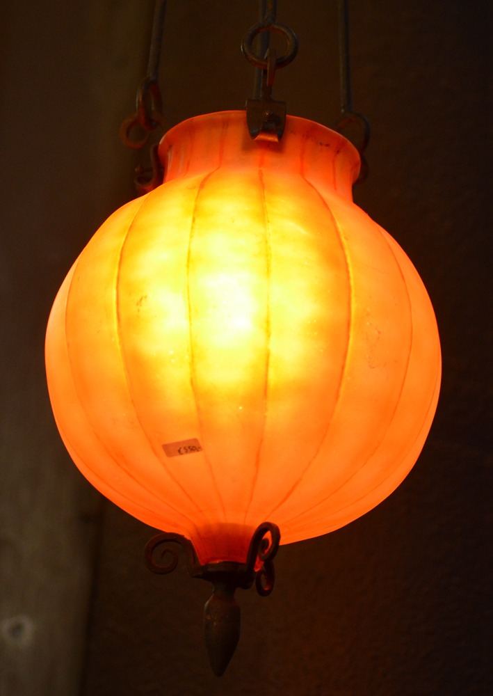 Art nouveau hall lamp — <p>Alternate view of the glass dome</p>