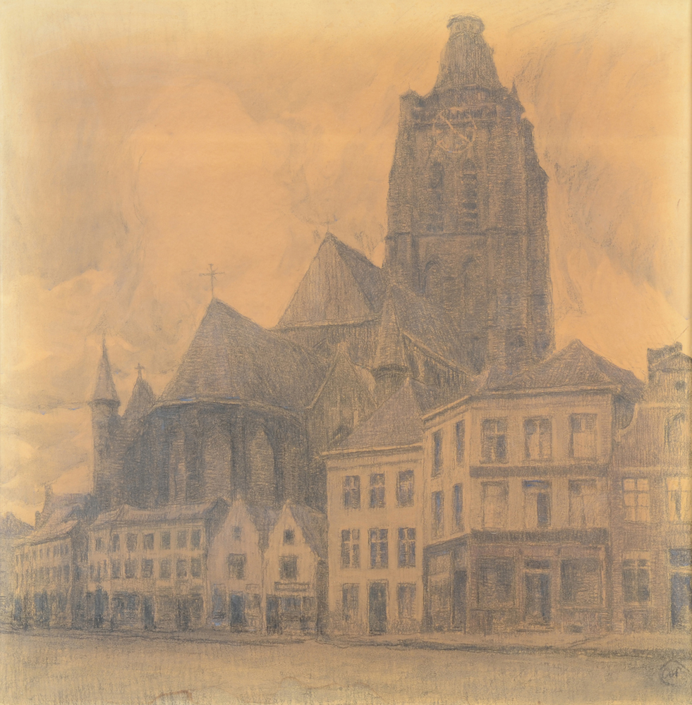 Albert Baertsoen — Oudenaarde, in the evening or the old church, an important charcoal drawing