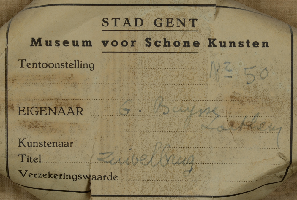 Albert Baertsoen — Detail of the exhibition label at the back of the strecher