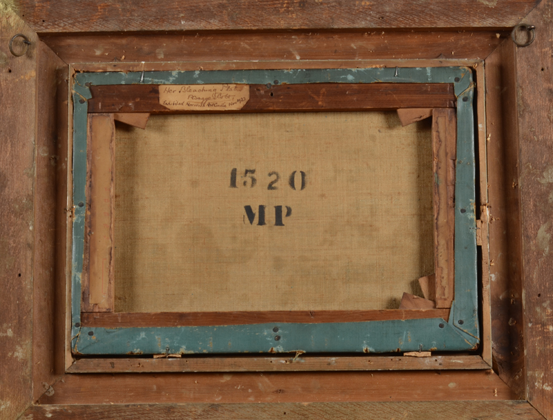 Robert Bagge Scott — Back of the canvas, with auction stamp and label affixed to the strecher.