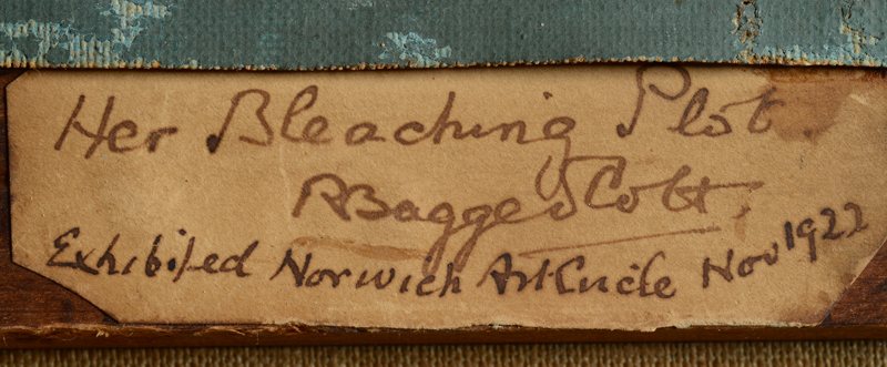 Robert Bagge Scott — Detail of the label, with title, signature of the artist and exhibition details.