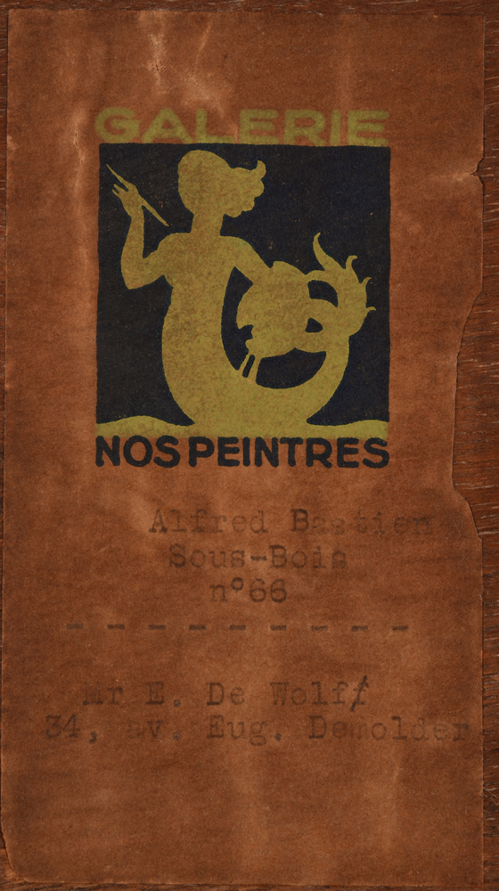 Alfred Bastien — The original exhibition label of the Nos Peintres gallery in Brussels, stating the exact title of the work as Sous-Bois and naming the original lender tot the exhibition. This work had catalogue number 66.