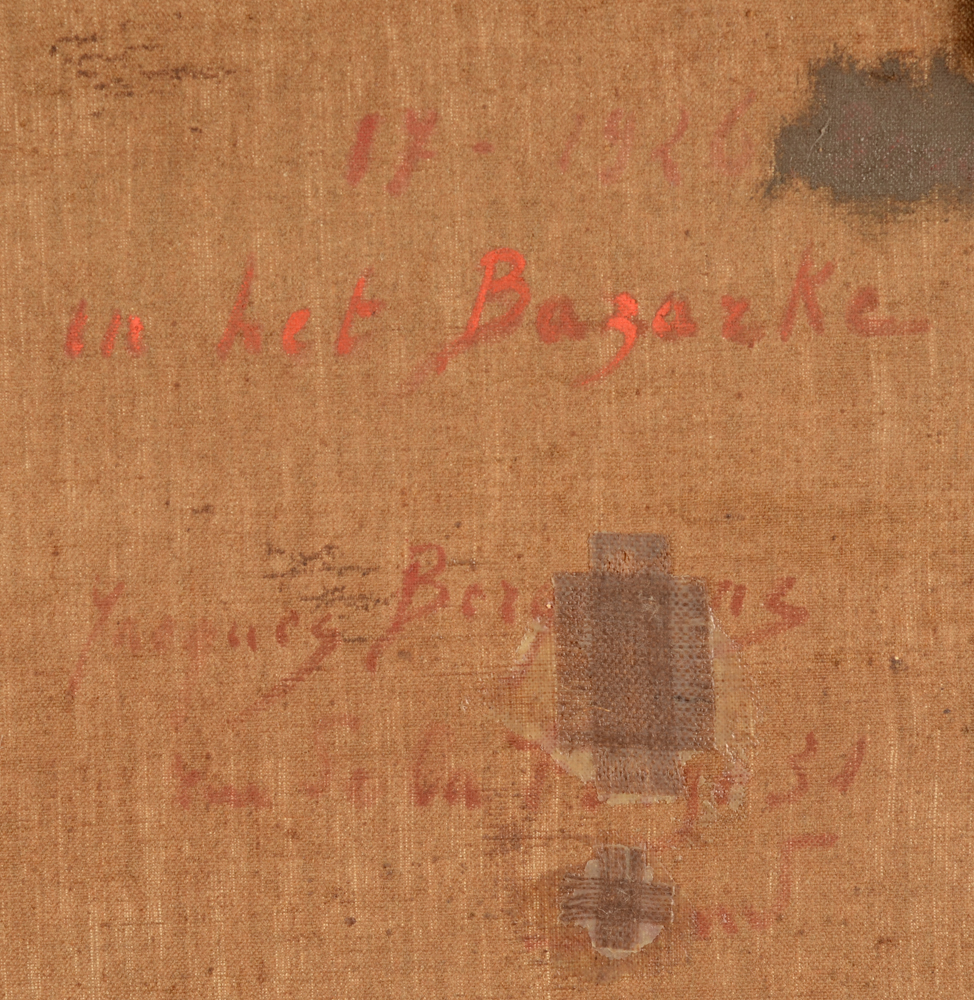 Jacques Bergmans — Detail of the artist signature, title of the work and some restaurations