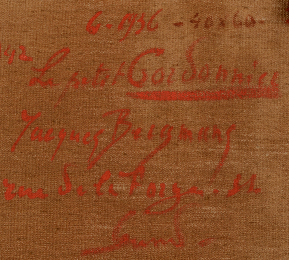 Jacques Bergmans  — Back of the painting with title, signature, date and adress of the painter