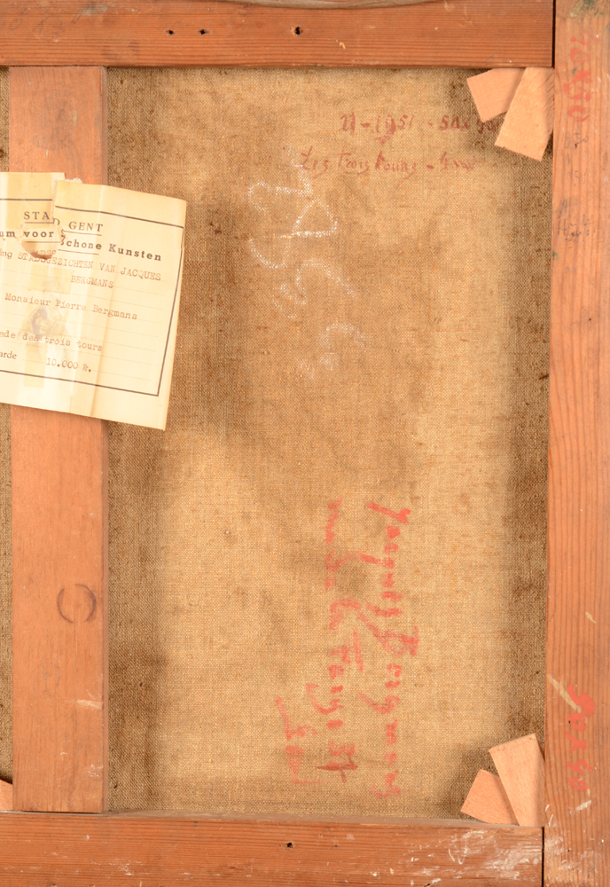 Jacques Bergmans — Detail of the back of the canvas with the inscriptions of the artist