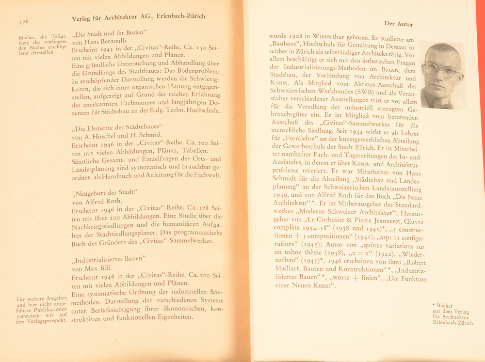 Max Bill — Last page and Bio of Max Bill on the flap