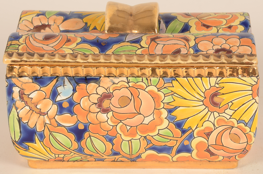 Boch La Louviere lidded box — View from the long side, showing the quality of the decoration.