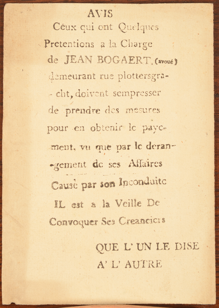 Jean Bogaert document to his creditors — <p>Rare document ephémère, début 19e, avertissement aux créanciers de Mr. Jean Bogaert de Gand</p>