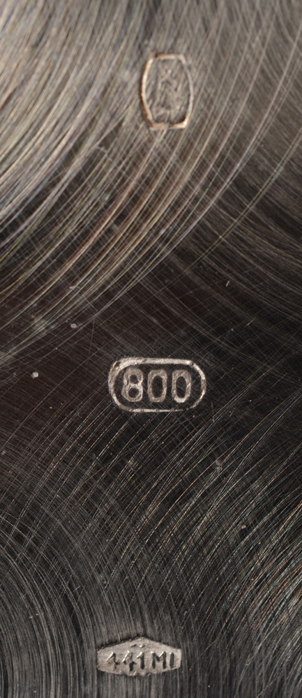 Argenteria Boggiali — Makers mark and alloy mark for 800/1000, also some with the mark of the Belgian firm of Konijn (as reseller)