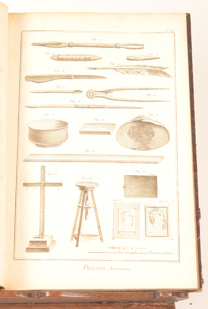 Charles Nicholas Cochin — <p>Example of one of the plates with drawing utensils</p>