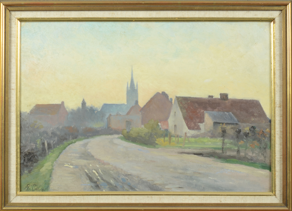 Prosper Boss — A view of a Flemish village or town, possibly Eeklo.