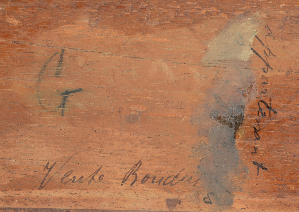 Eugene Boudin — Detail of the back of the panel with contemporary inscriptions.