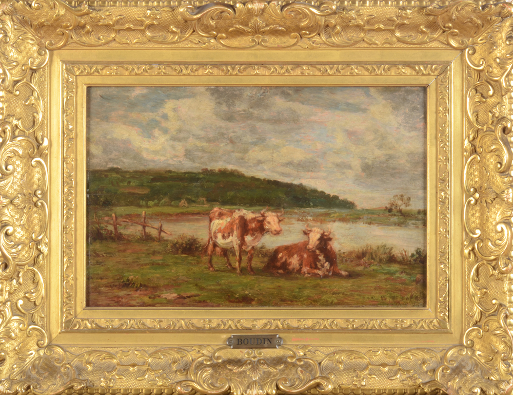 Eugene Boudin — Cows in a meadow near the river La Touques (France)
