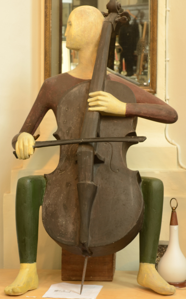 Roger Bracke — A rare and unique sculpture representing a cello player.