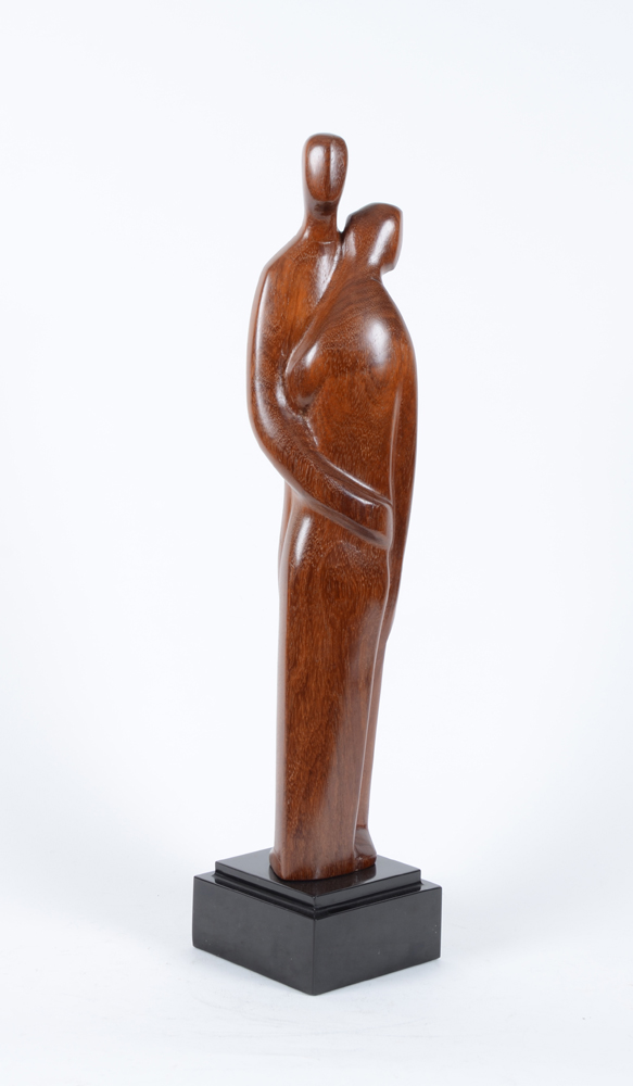 Roger Bracke — Standing couple, carved in wood on a marble base.