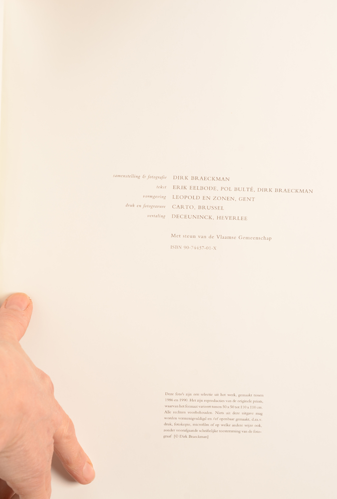 Dirk Braeckman — Colophon at the back