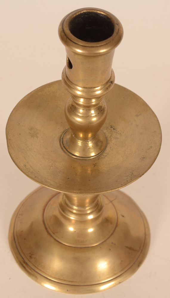 A brass Flemish renaissance candlestick — Detail from above