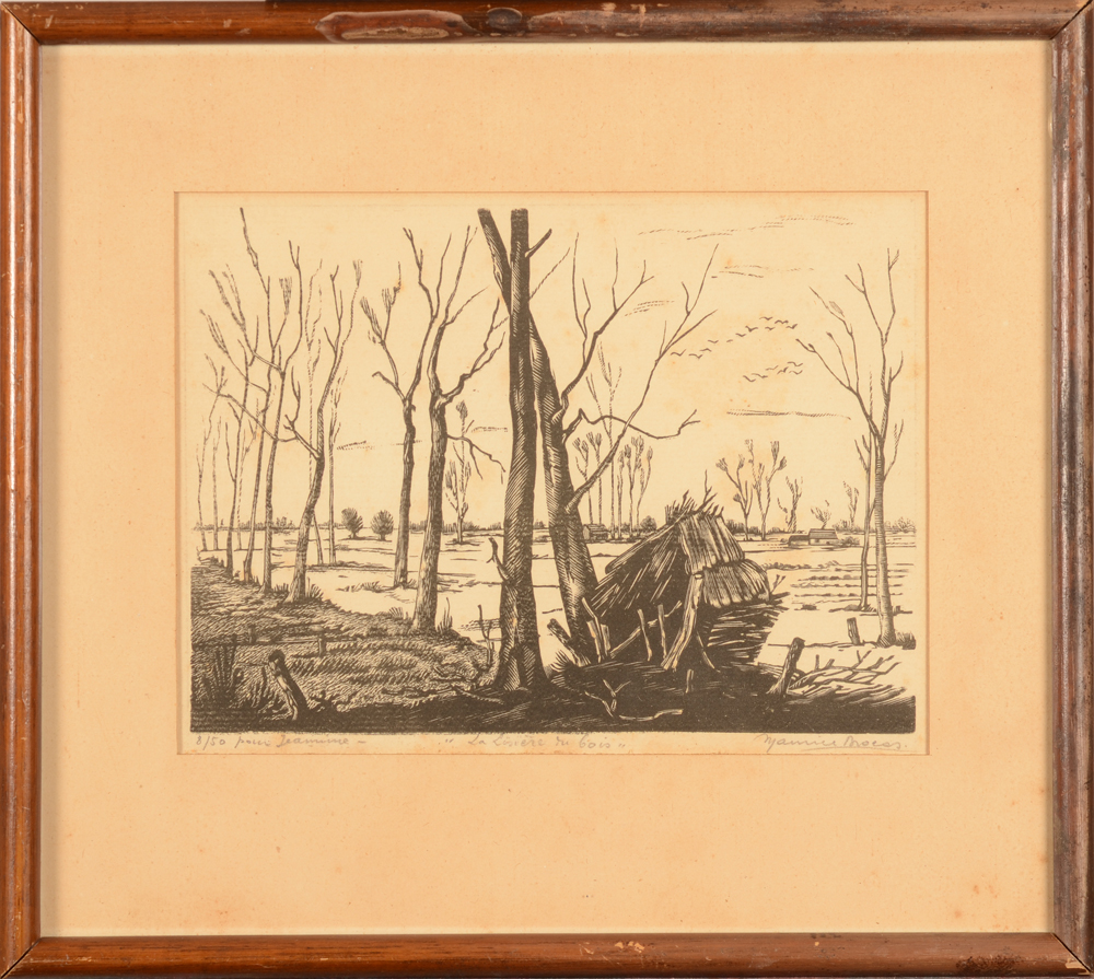 Maurice Brocas — the woodcut in its original frame