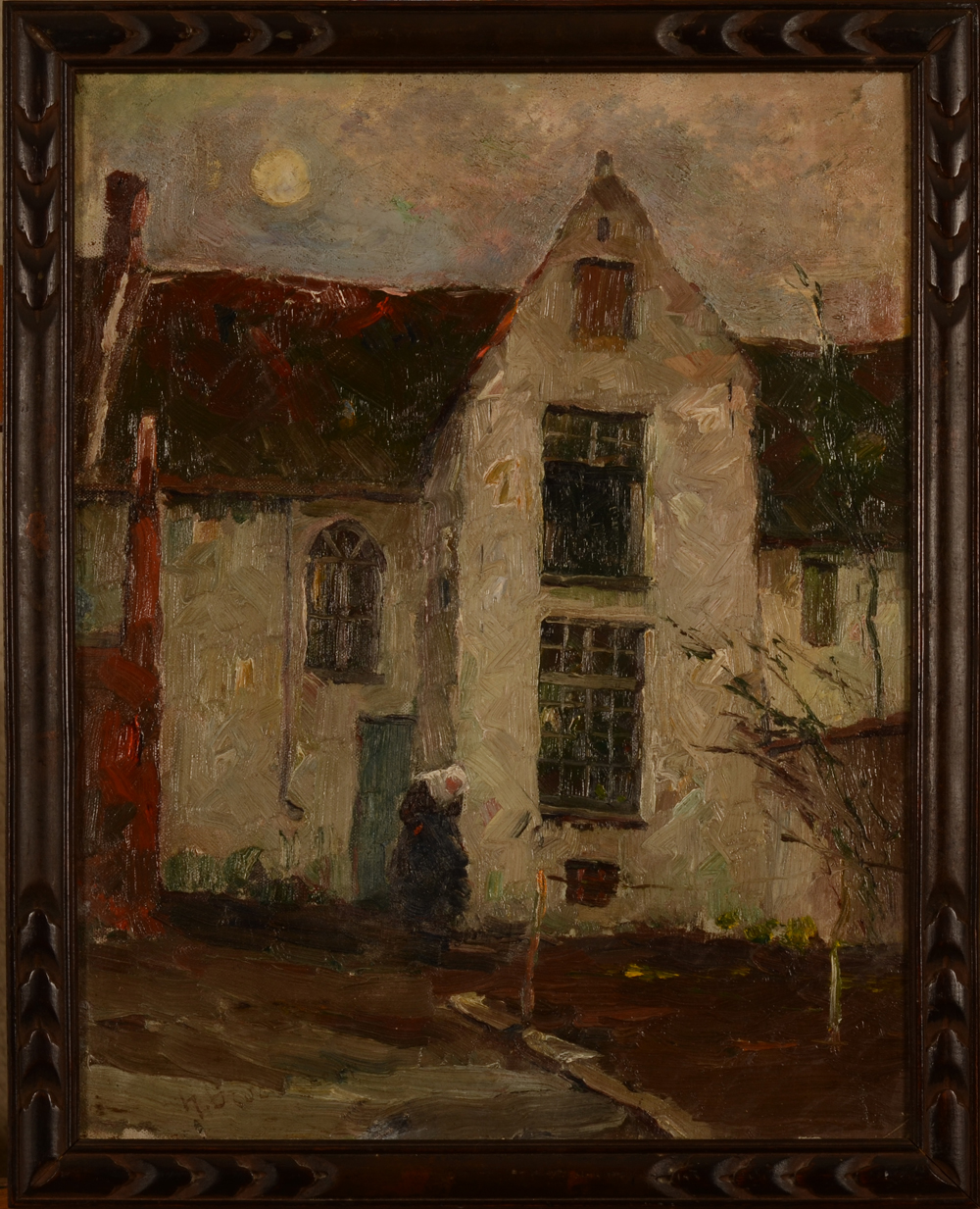 Herman Broeckaert Beguinage in the evening — in the original frame
