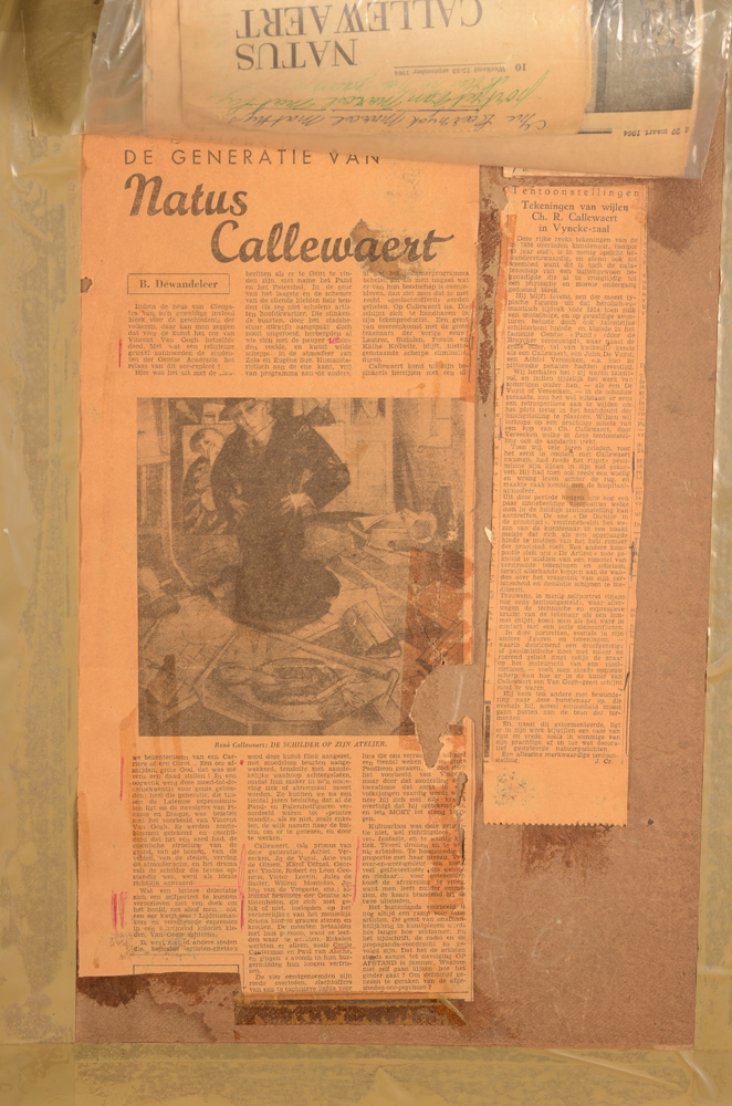Charles-René Callewaert — Back of the drawing with documentation on the artist