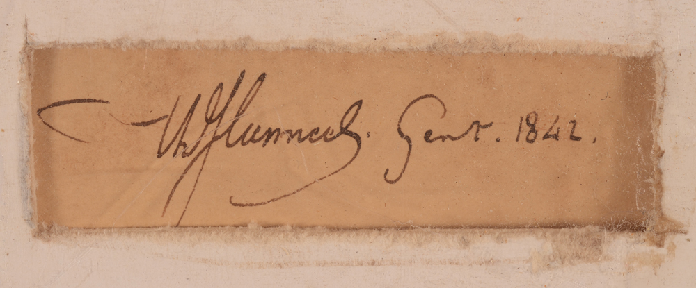 Theodore Canneel — Signature of the artist and date, in ink at the back