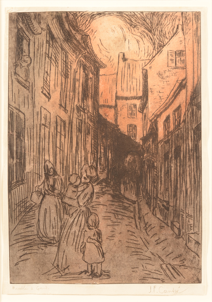 Jan-Frans Cantré etching  — Street in Ghent or Ruelle à Gand