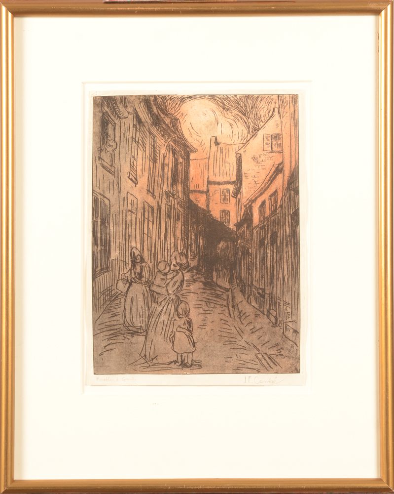 Jan-Frans Cantré Etching — Coloured etching with frame