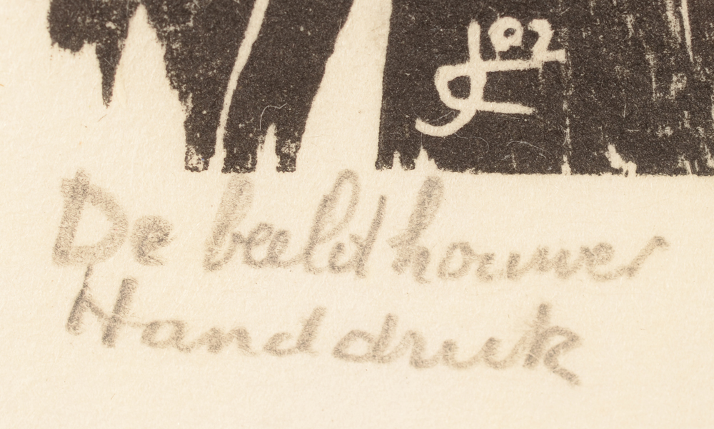 Jozef Cantre — Title of the work and mention 'Handdruk', in pencil by the artist bottom left
