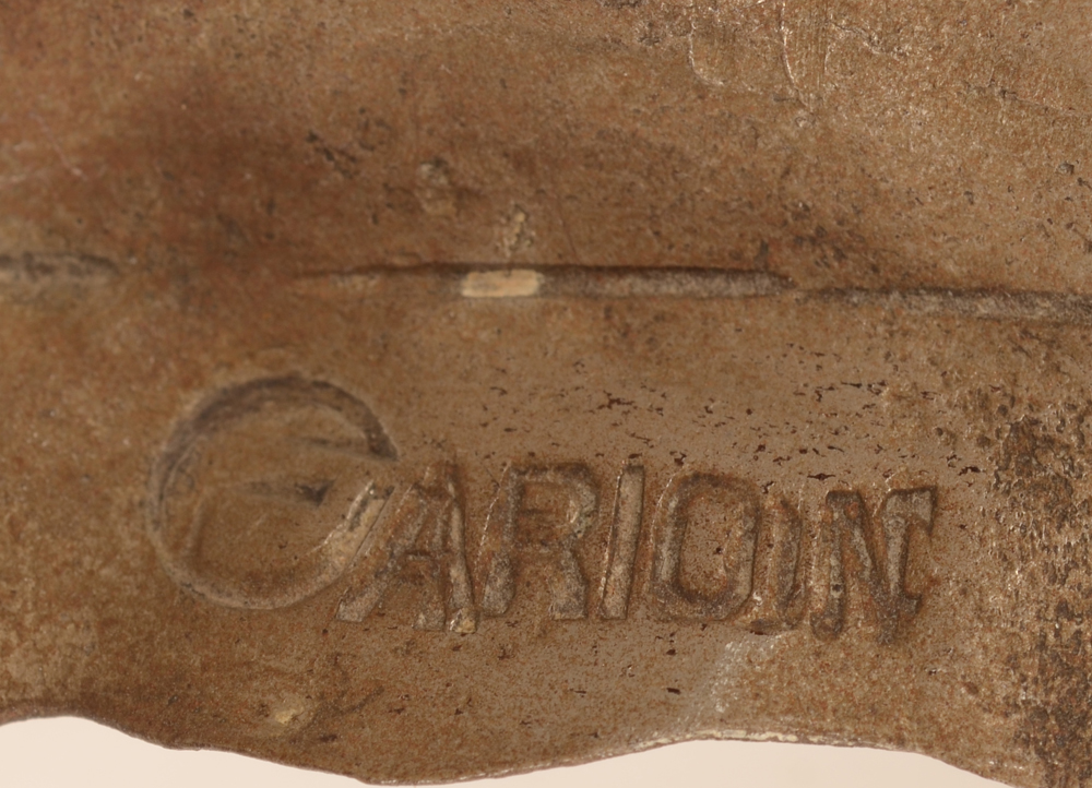 Carion art nouveau candlestick — Signature mark on one of the leaves