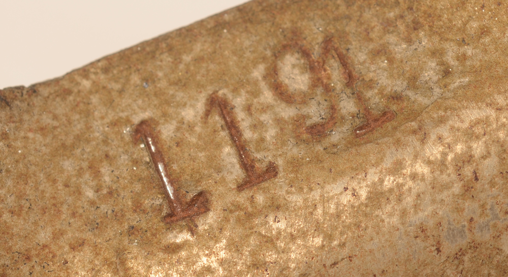 Carion art nouveau candlestick — Stamped number on the back of one of the leaves