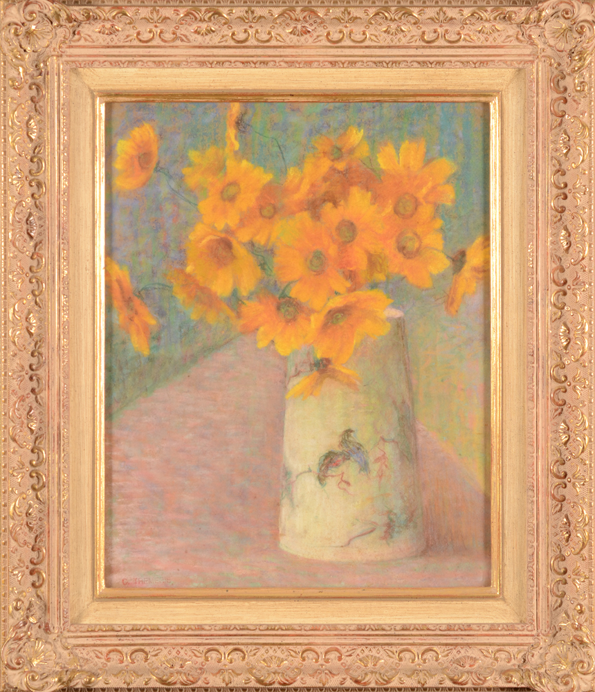 Carolus Tremerie — A rare flower stillife executed in pastel, probably before 1930.