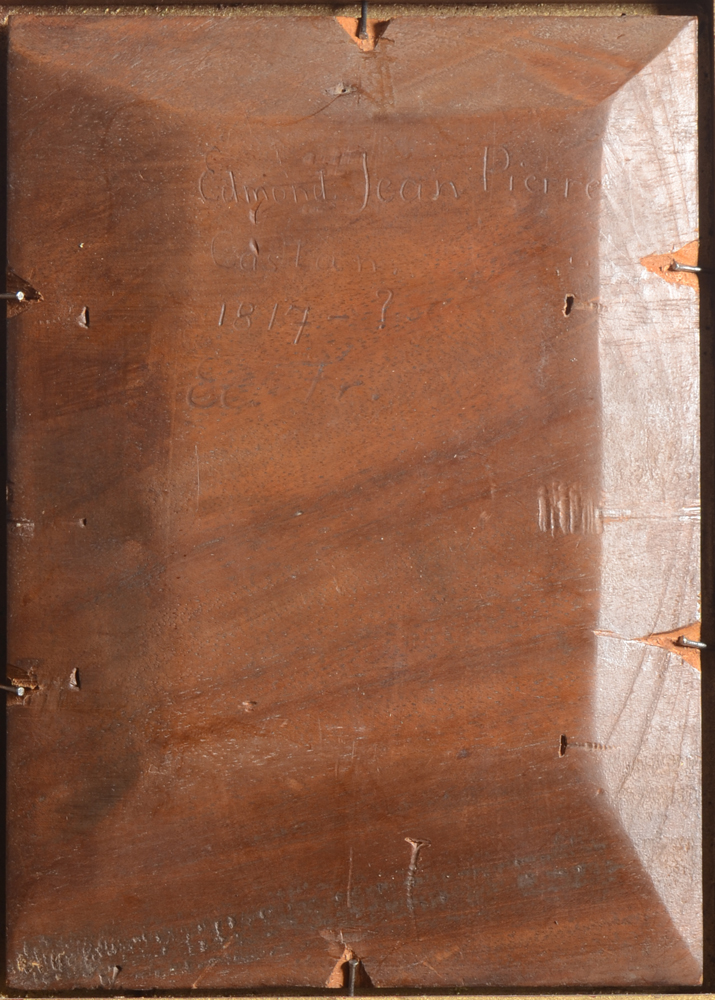 Edmond Castan — Back of the painting, showing the thick mahogany panel.