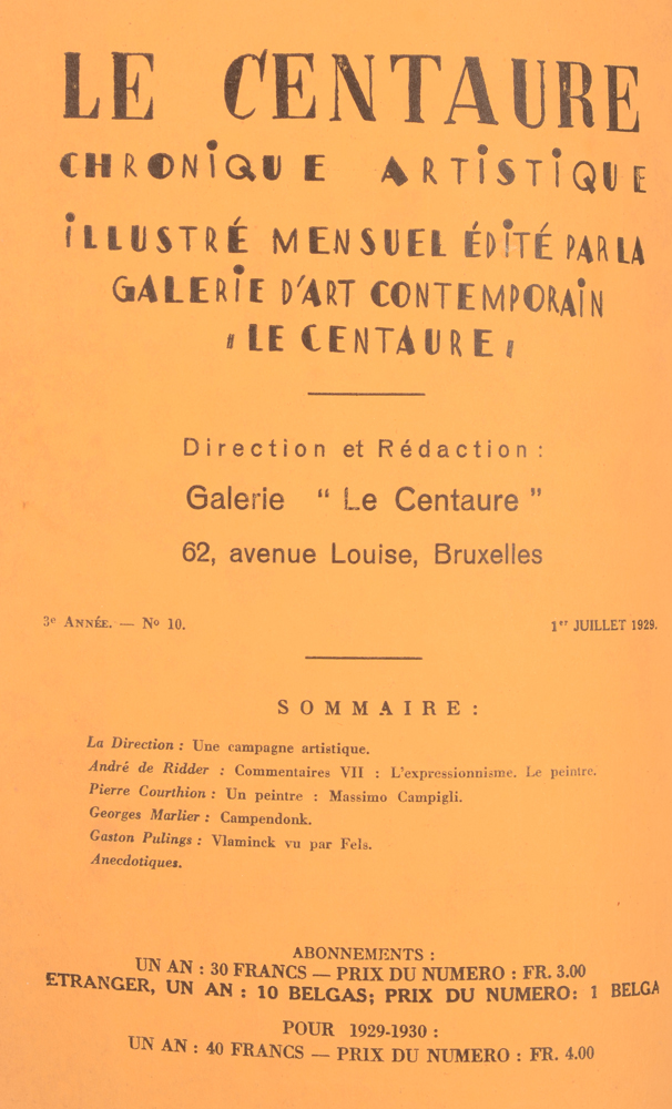 Le Centaure — Table of contents July 1929