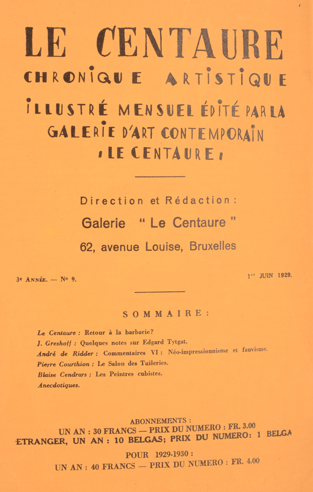 Le Centaure — June 1929 table