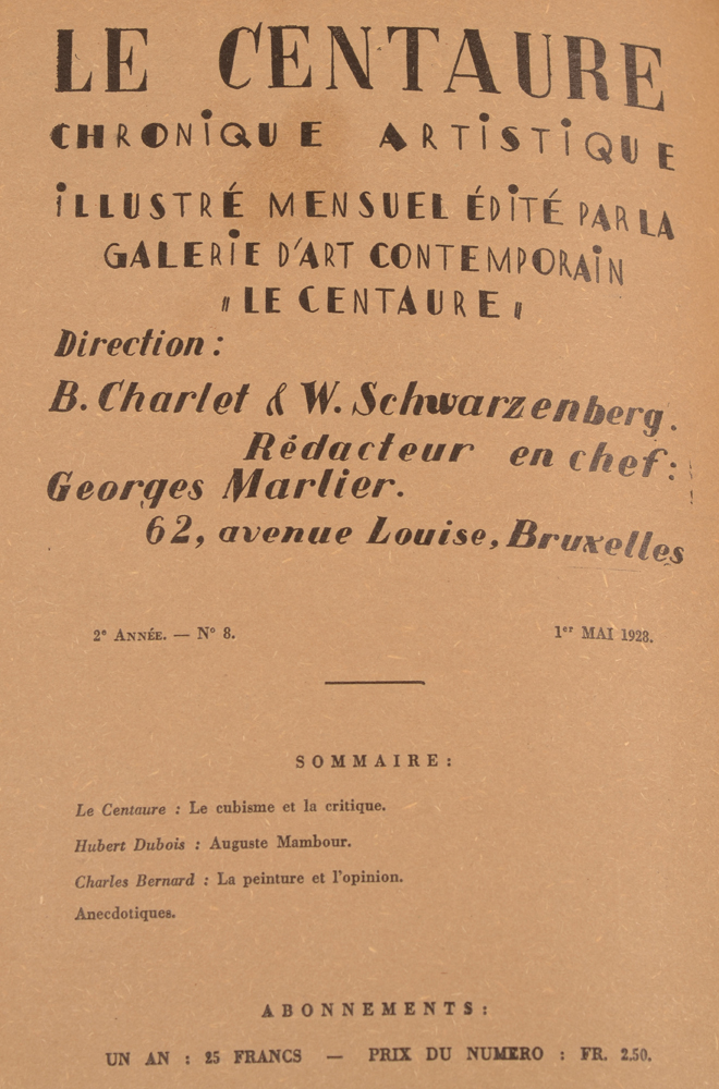Le Centaure — Table of contents May 1928